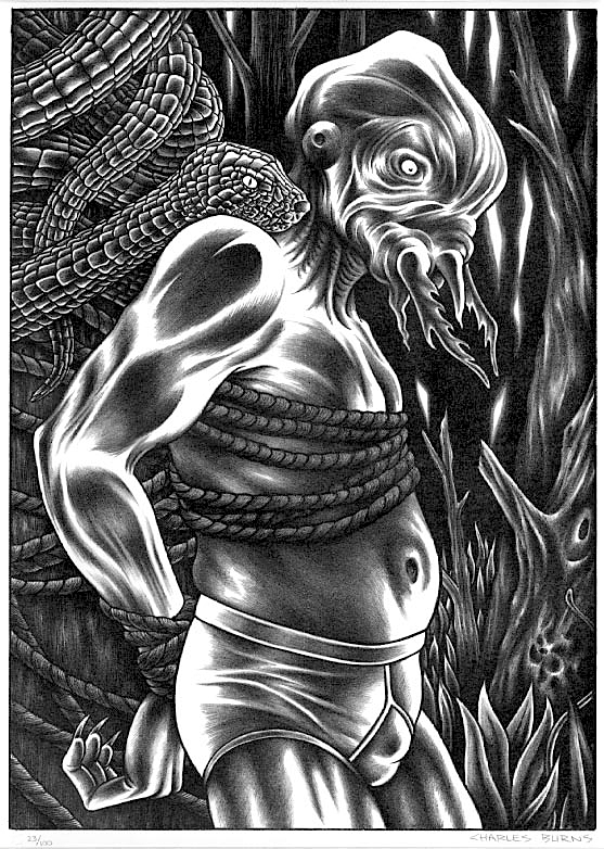 """Beyond Recognition,"" a rare stone lithograph by Charles Burns, 1992"