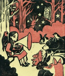 Faun Fables (2007) - Linocut by Blair Kelly (blairkellystudio.com)