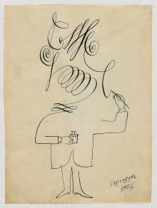 Un auto-portrait de Saul Steinberg en 1954