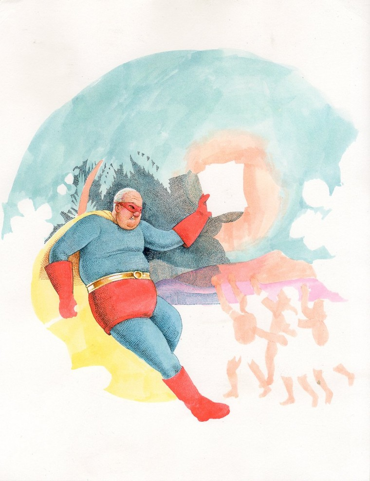 Unpublished Chris Ware Superman cover for Acme Novelty Library #8.