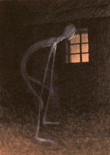 « Death Looking into the Window of One Dying », illustration de Jaroslav Panuška (vers 1900)