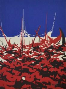 Une lithographie colorée de Raymond Moretti