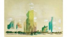 Dessin au crayon noir, pastel, gouache blanche sur papier du quartier Pablo-Picasso à Nanter