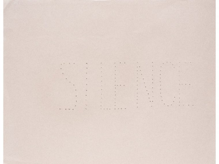 galerie-arnaud-lefebvre-hessie-22silence22-n-inv-83-1972-perforations-sur-papier-blanc-50-x-65-cm